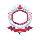Emblème graphique créé utilisant le symbole royal Lily Flower et les décorums illustration stock