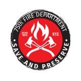 Emblème grunge de sapeur-pompier avec l'illustration de vecteur de haches illustration de vecteur