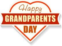 Emblème heureux de jour de grands-parents avec la forme du coeur et de l'ombre Co Photos stock