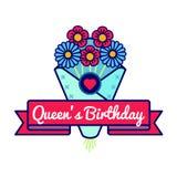 Emblème heureux de salutation d'anniversaire de Queens Photo stock