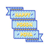 Emblème heureux de salutation de Poson Poya Photo stock