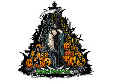 Emblème heureux de triangle de Halloween avec une fille et une pompe de faucheuse illustration stock