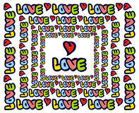 Emblème humoristique avec le mot et le x22 ; love& x22 ; Photographie stock libre de droits