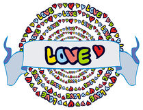 Emblème humoristique avec le mot et le x22 ; love& x22 ; Photos stock