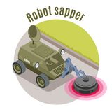 Emblème isométrique de robots militaires illustration stock