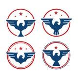 Emblème Logo Collection d'Eagle Falcon Hawk Wings Star de cercle illustration stock