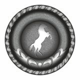 Emblème, médaille, symbole, insigne avec le cheval Photo stock