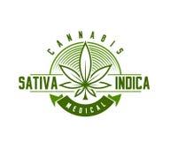 Emblème médical de cannabis, logo Style classique de vintage Photo libre de droits