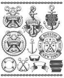 Emblème marin avec des ancres Photos libres de droits