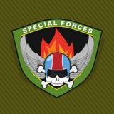 Emblème militaire avec un crâne et l'arme, ailes sur le bouclier WA Images stock
