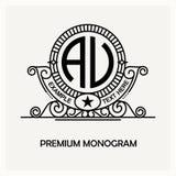 Emblème moderne, insigne, calibre de monogramme Ligne élégante de luxe illustration d'ornement de cadre de vecteur de conception  illustration stock