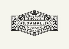 Emblème moderne, insigne, label, calibre de monogramme Ligne élégante de luxe illustration d'ornement de cadre de vecteur de conc illustration stock
