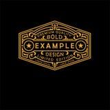 Emblème moderne, insigne, label, calibre de monogramme Ligne élégante de luxe illustration d'ornement de cadre de vecteur de conc illustration libre de droits