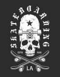 Emblème monochrome faisant de la planche à roulettes de vintage illustration de vecteur