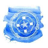 Emblème nautique avec la bouée de sauvetage et les étoiles de mer de boussole Photos libres de droits