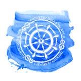 Emblème nautique avec la roue de mer Images libres de droits