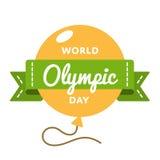 Emblème olympique de salutation de jour du monde Photos stock