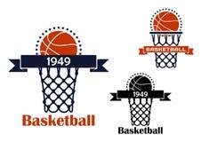 Emblème ou symbole de jeu de sport de basket-ball Photos libres de droits