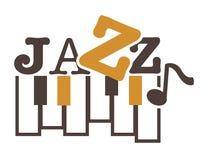 Emblème promotionnel de musique de jazz avec les clés et le signe de piano illustration libre de droits