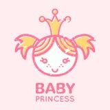 Emblème puéril avec la petite fille mignonne illustration libre de droits