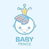 Emblème puéril avec le petit garçon mignon illustration de vecteur