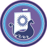 Emblème rond avec la voile du soleil d'und de boad de slavic sur le fond blanc Illustration de vecteur Image stock
