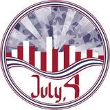 Emblème rond avec le quart de calligraphie de juillet. Image stock
