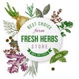 Emblème rond avec le type conception, herbes et épices Photographie stock libre de droits