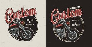 Emblème rond coloré de moto faite sur commande de cru illustration stock