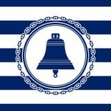 Emblème rond de mer avec une Bell Photographie stock libre de droits