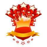 Emblème rouge d'isolement Photo stock
