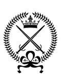 Emblème royal avec les épées croisées Photo stock
