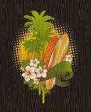 Emblème tropical de cru de vague déferlante illustration stock