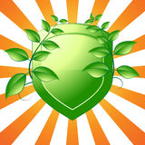 Emblème vert d'écran protecteur Photographie stock libre de droits