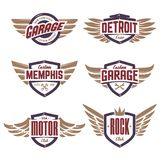 Emblèmes avec des ailes réglées Photos libres de droits