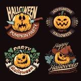 Emblèmes avec le potiron de Halloween Image stock