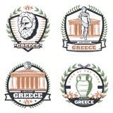Emblèmes colorés par vintage de Grèce antique réglés Image libre de droits