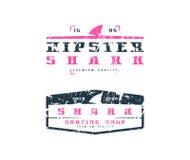 Emblèmes d'aileron de requin Conception graphique pour le T-shirt Images stock