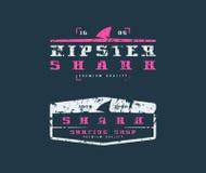 Emblèmes d'aileron de requin Conception graphique pour le T-shirt Images libres de droits