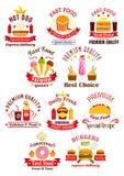 Emblèmes d'aliments de préparation rapide avec des rubans Photographie stock libre de droits