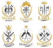 Emblèmes d'arme de vintage réglés Le manteau des bras héraldique, vecteur de vintage symbolise la collection illustration stock
