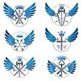 Emblèmes d'arme de vintage réglés Manteau héraldique d'emb décoratif de bras Photo stock