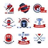 Emblèmes d'hockey réglés illustration de vecteur