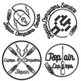 Emblèmes d'ordinateurs et d'ordinateurs portables de réparation de vintage Image stock