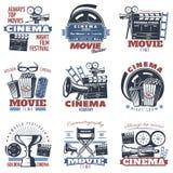 Emblèmes de cinéma en couleurs Photos libres de droits