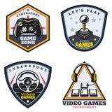 Emblèmes de jeu vidéo colorés par vintage réglés Images libres de droits