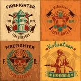 Emblèmes de lutte contre l'incendie de vintage réglés illustration de vecteur
