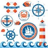 Emblèmes de mer illustration de vecteur