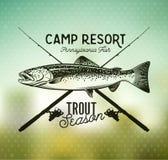 Emblèmes de pêche de truite de vintage Photo stock