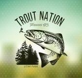 Emblèmes de pêche de truite de vintage illustration libre de droits